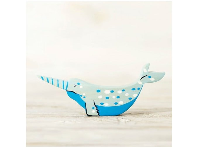 wooden narwhal toy