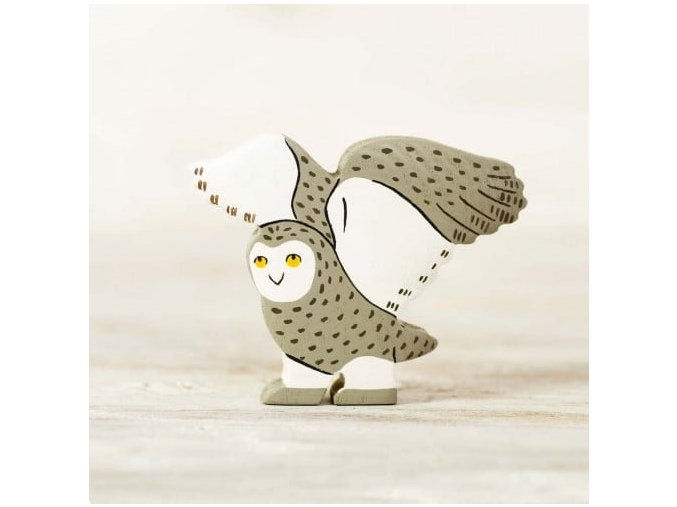 wooden snowy owl toy
