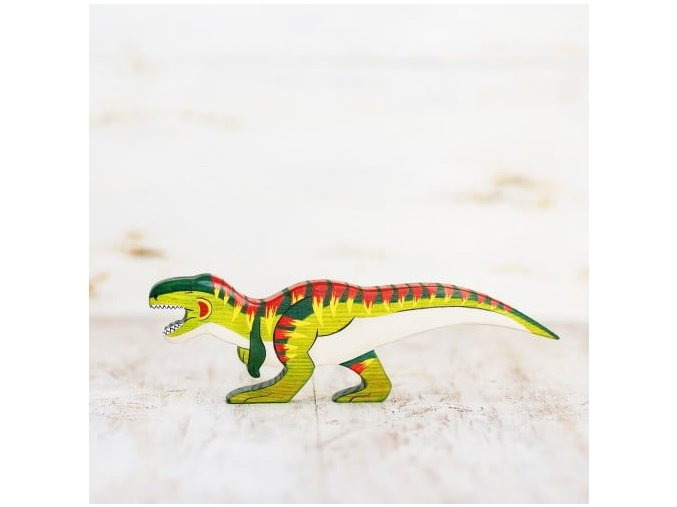 wooden toy t rex figurine