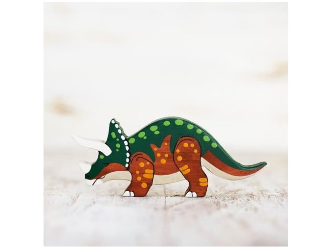wooden triceratops toy