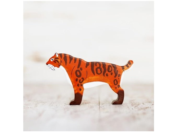 wooden toy sabre toothed cat figurine