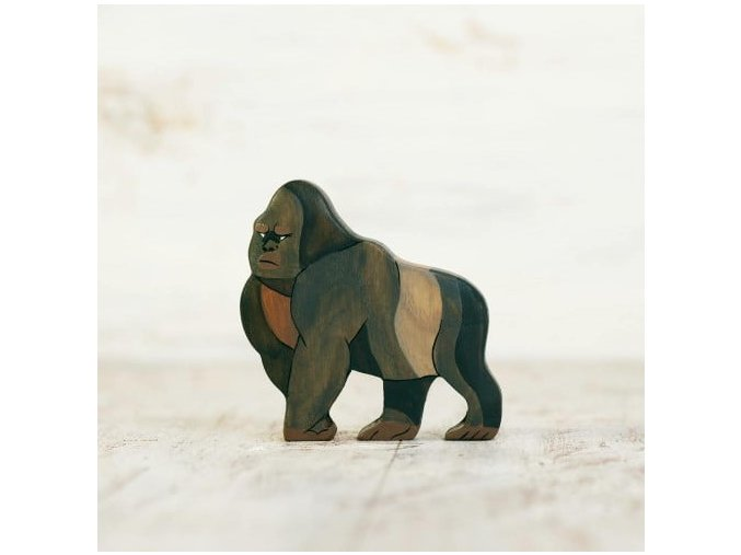 wooden toy gorilla figurine
