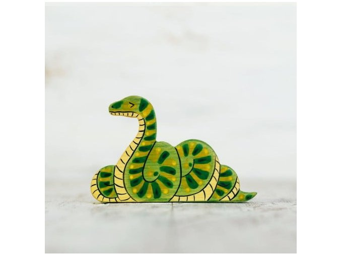 wooden toy snake figurine
