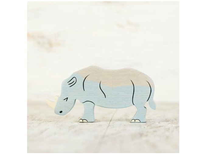 wooden toy rhino figurine
