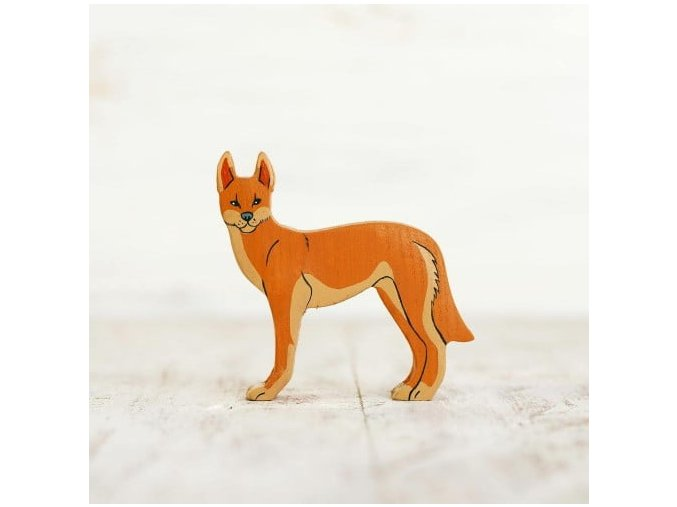 wooden toy dingo figurine