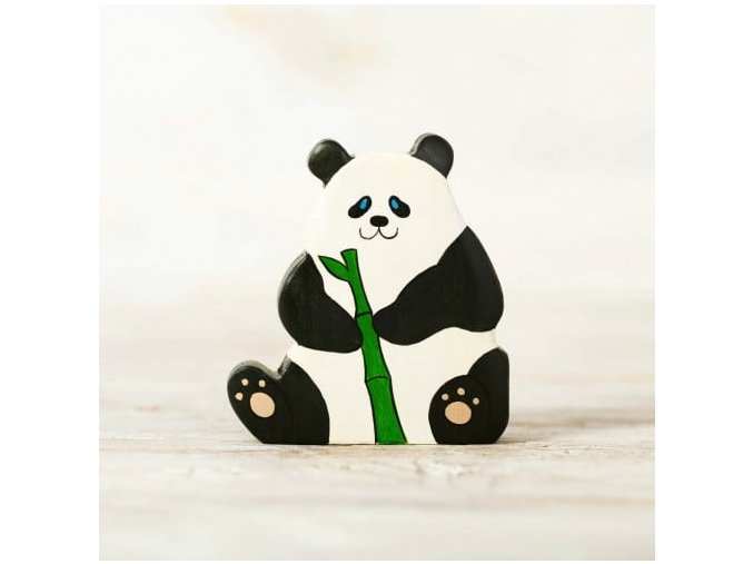 wooden toy panda figurine
