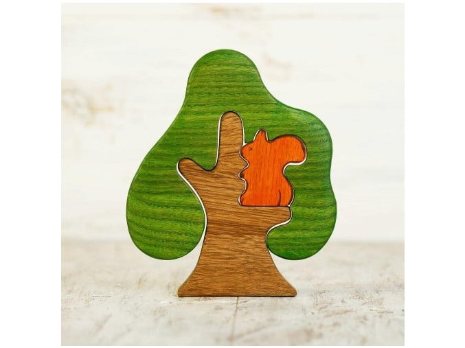 wooden tree with squirrel