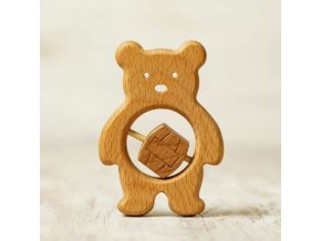 baby teether wooden toy bear and honey