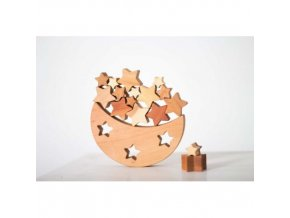 wooden balance toy moon and stars