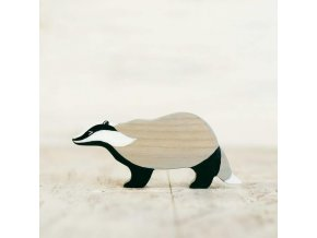 wooden toy badger figurine