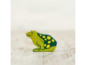 wooden toy frog figurine