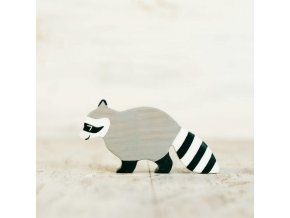 wooden toy raccoon figurine
