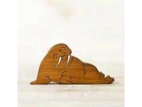 wooden toy walrus figurine