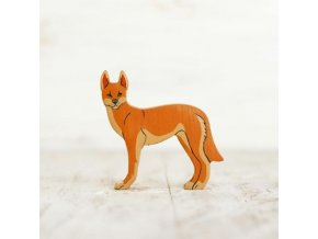 wooden toy dingo figurine