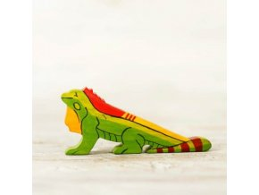 wooden toy iguana figurine
