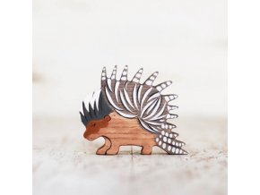 wooden toy porcupine figurine
