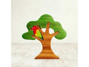 wooden tree with a parrot