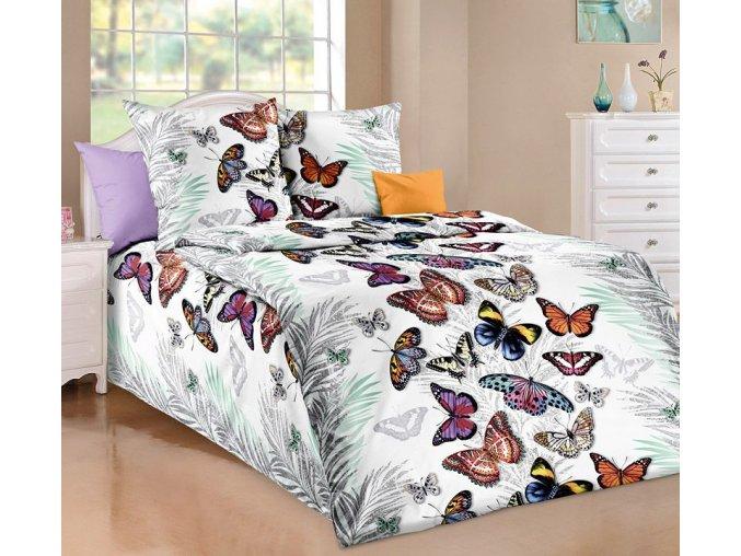 bavlnene povleceni motylci bily 0