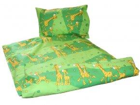 Dětské bavlněné povlečení Žirafa zelená