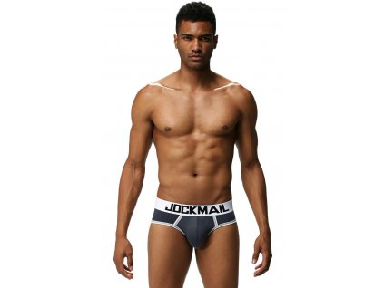JOCKMAIL 3D PUSH-UP SHOCK BRIEF - ŠEDÉ MODALOVÉ SLIPY S PUSH-UP VÁČKEM