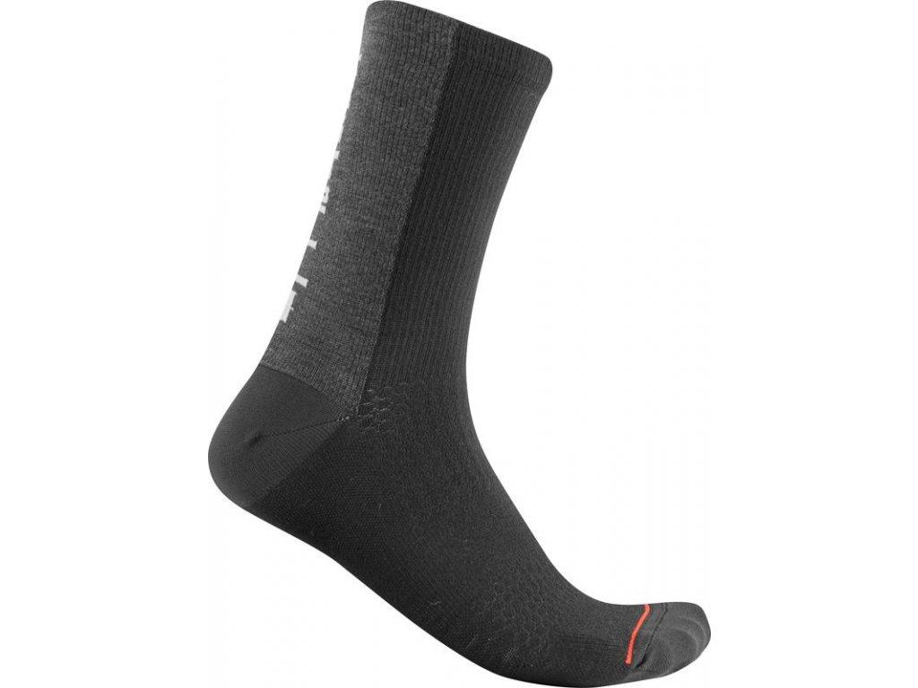 Castelli BANDITO WOOL 18 (Farba CST-Bandito-sock-030 tmavá šedá Celeste, Veľkosť XXL)