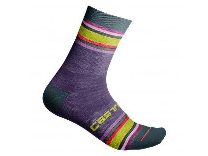 Dámske zimné ponožky Castelli Striscia 13 (Farba Castelli-Striscia-13-Brillant pink, Veľkosť S/M)
