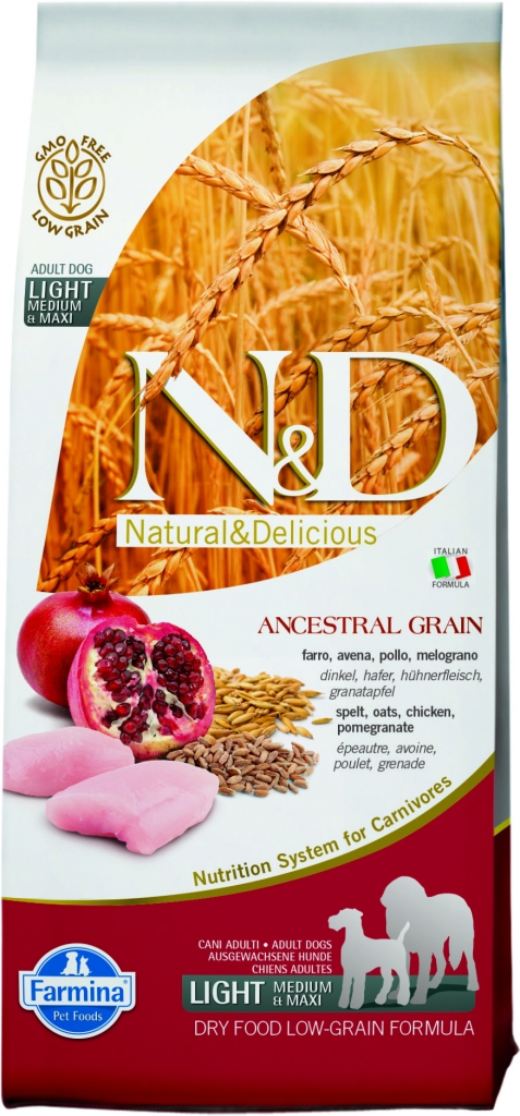 N&D LG DOG Light M/L Chicken&Pomegranate 12kg granule