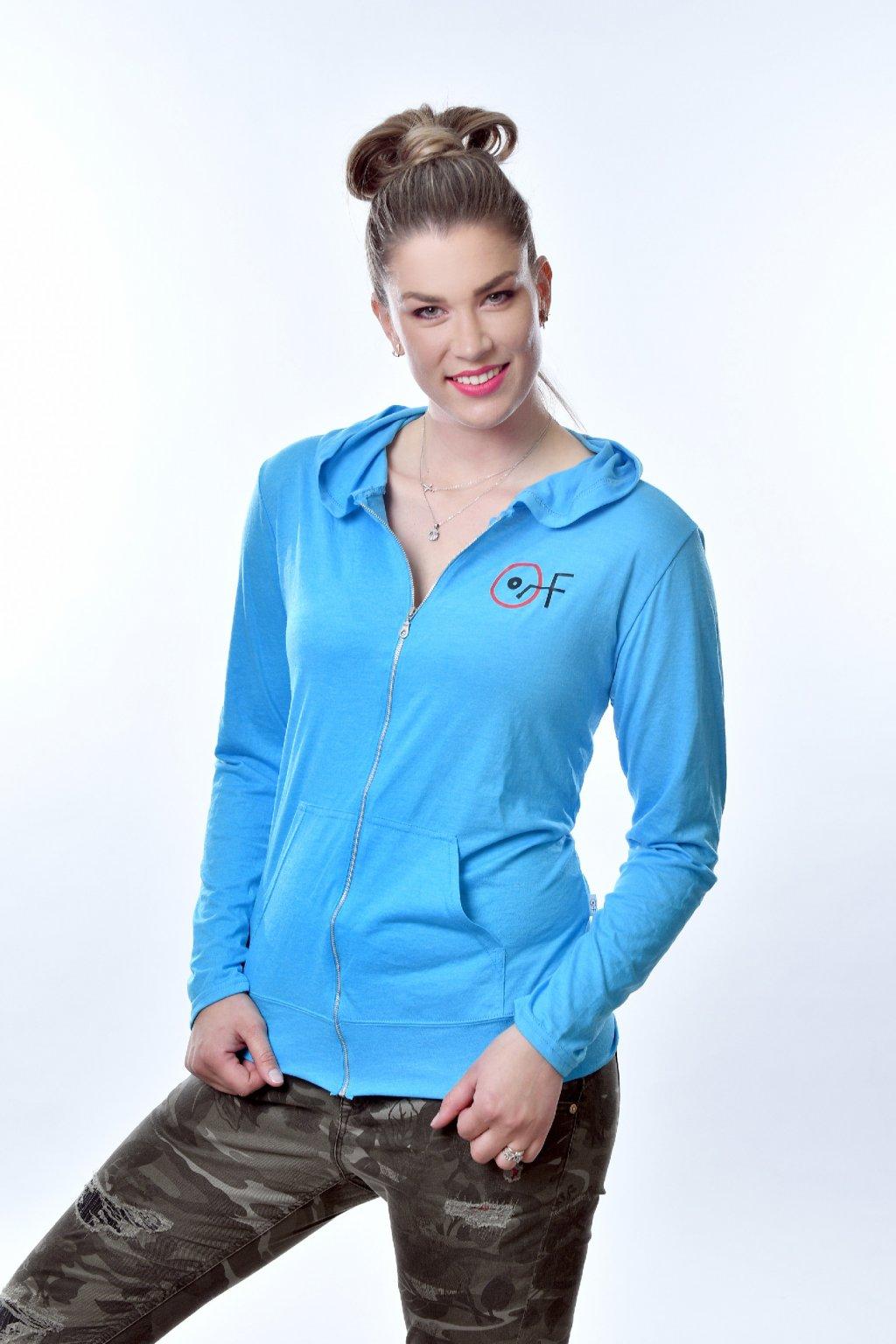 Mikina dámská s kapucí Caribbean blue