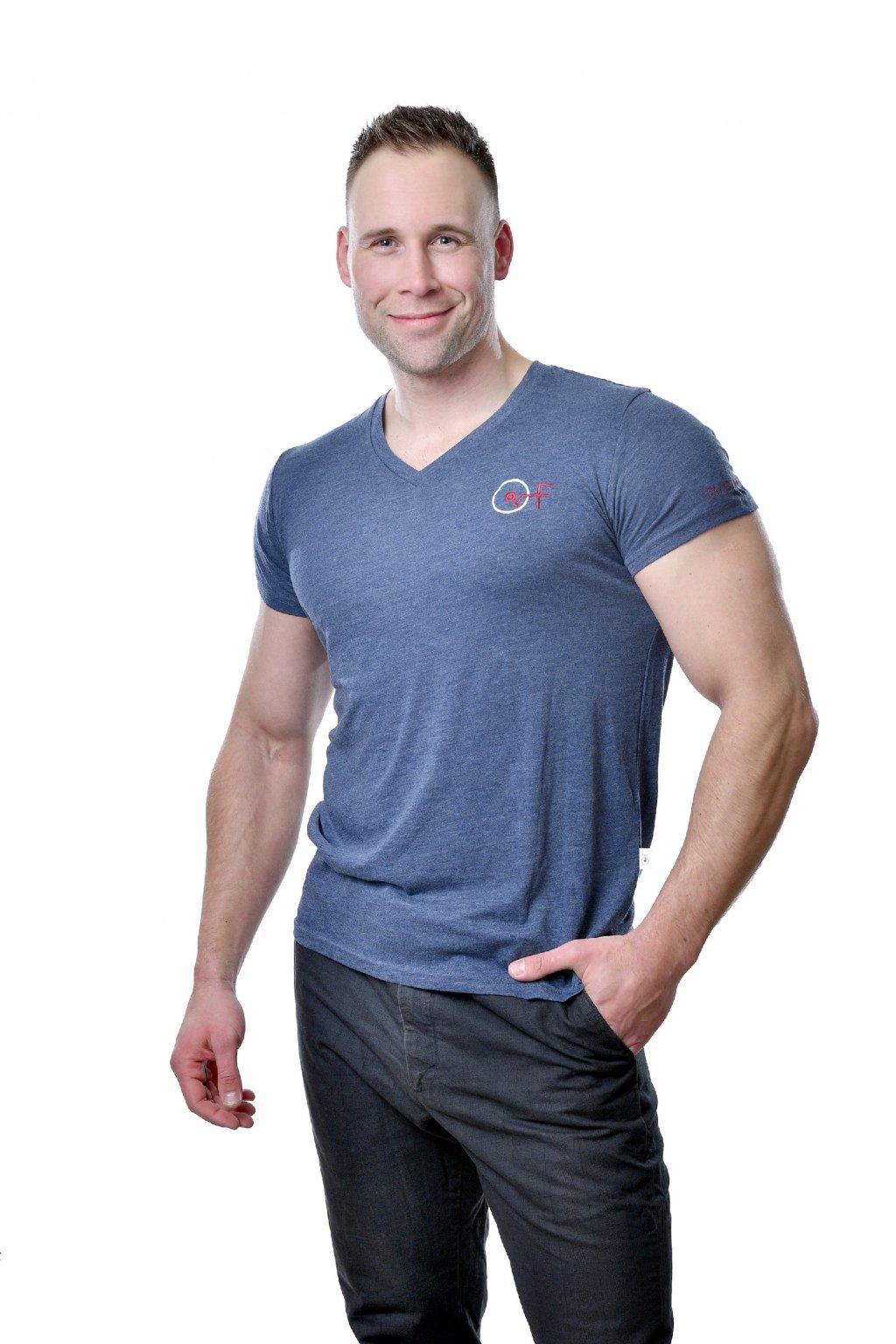 Tričko pánské s výstřihem V Triblend modré