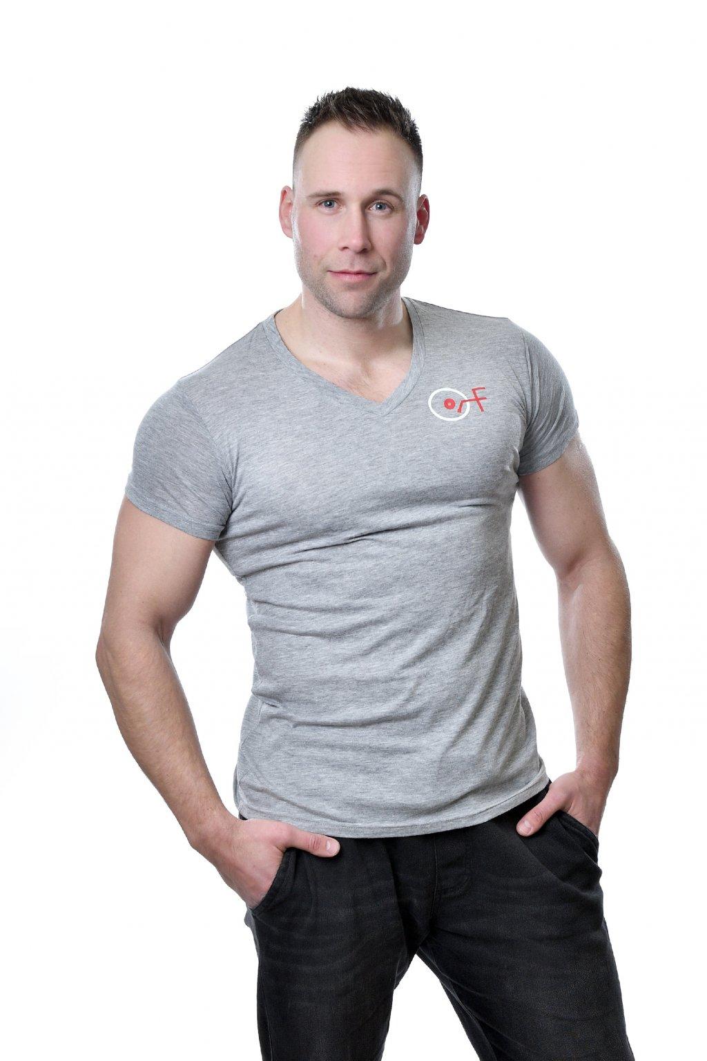 Tričko pánské s výstřihem V Triblend šedivé