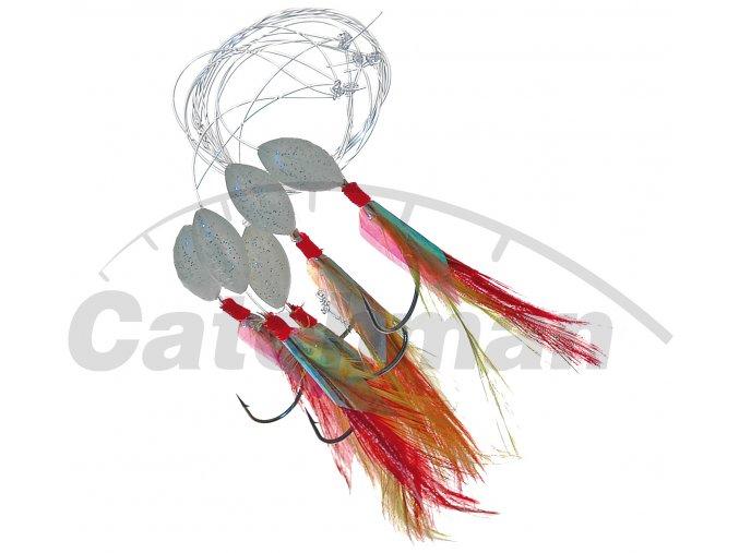 001145 peří fluo červený háček