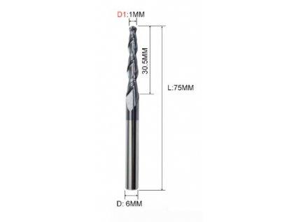 Radiusová fréza špiral 6x1mm