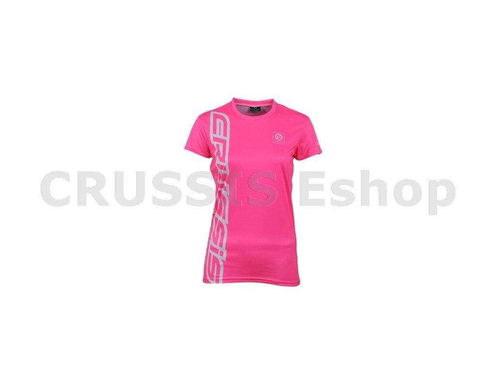 Dámské triko -  krátký rukáv,  růžový fluo pruh.