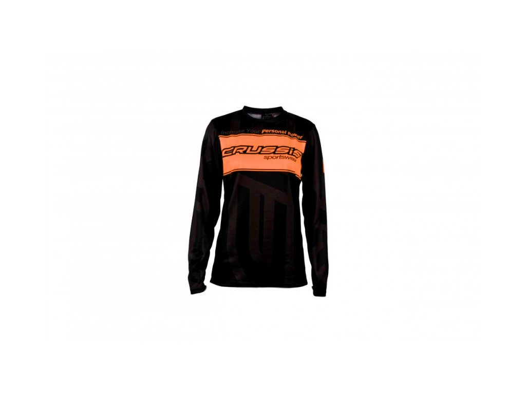 Unisex triko dlouhý rukáv - černo / oranžová fluo