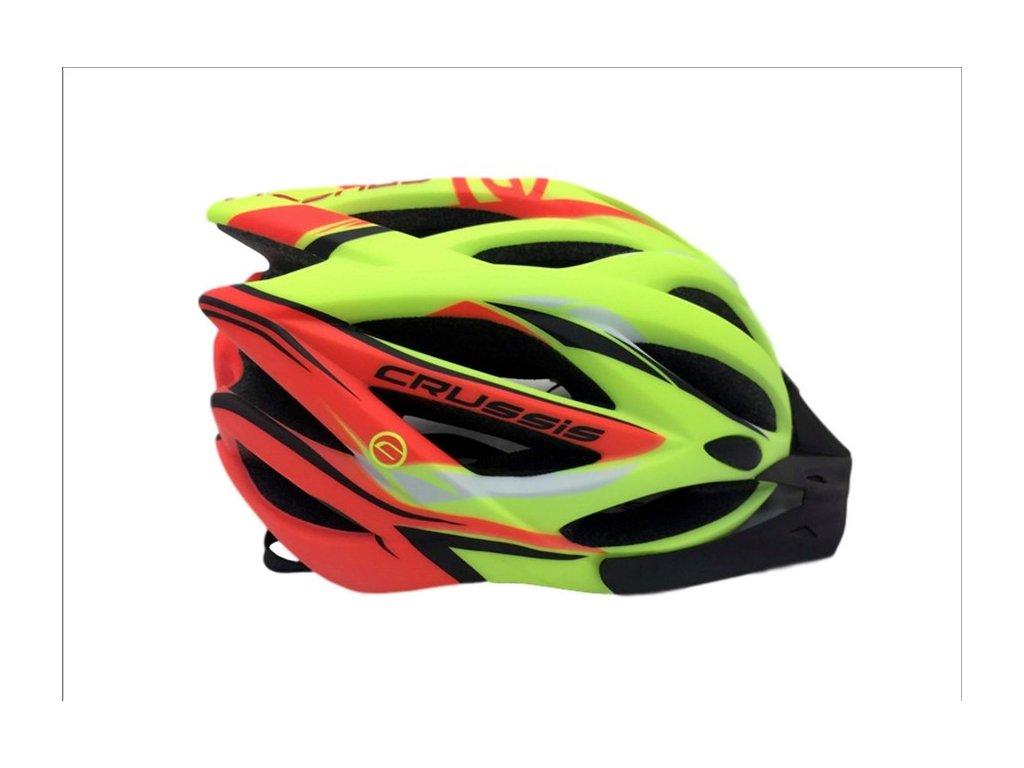 Cyklistická přilba CRUSSIS žlutá neon - oranžová neon