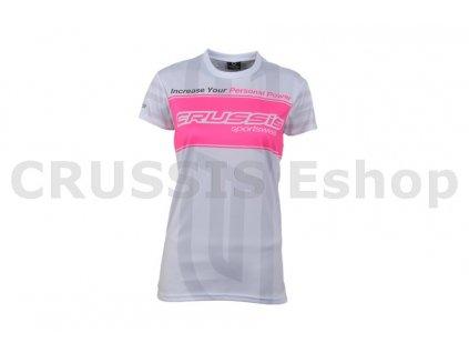 Dámské triko krátký rukáv bílé s růžový fluo pruh