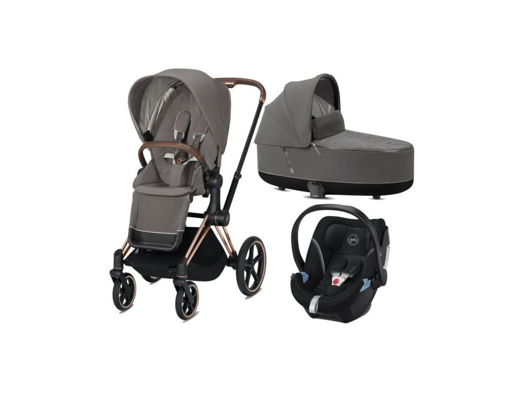 Cybex Priam podvozek, Seat Pack, Lux Carry Cot s autosedačkou 2021 - Soho grey