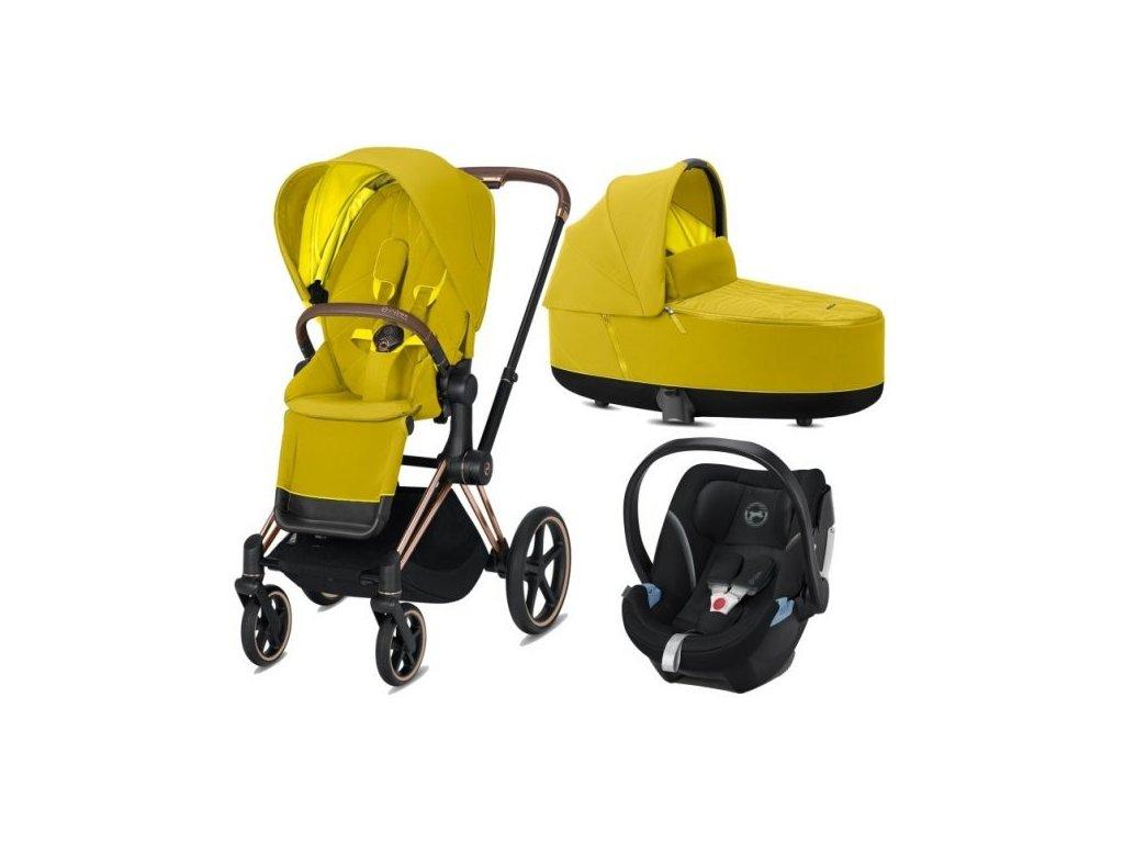 Cybex Priam podvozek, Seat Pack, Lux Carry Cot s autosedačkou 2021 - Mustard Yellow