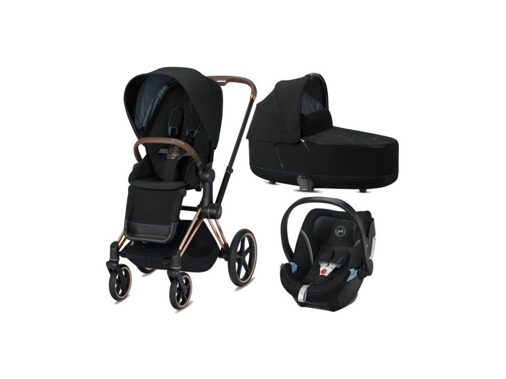 Cybex Priam podvozek, Seat Pack, Lux Carry Cot s autosedačkou 2021 - Deep Black