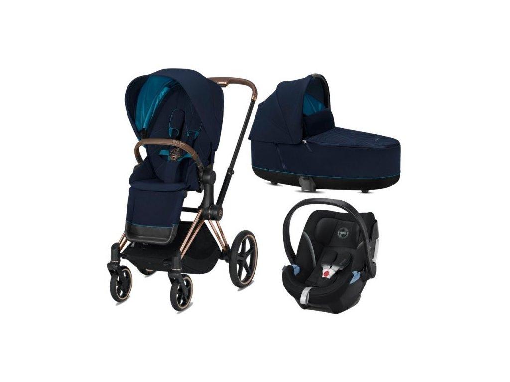 Cybex Priam podvozek, Seat Pack, Lux Carry Cot s autosedačkou 2021 - Nautical Blue
