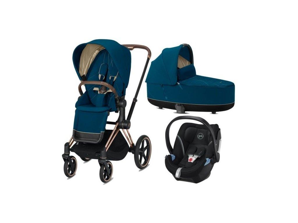 Cybex Priam podvozek, Seat Pack, Lux Carry Cot s autosedačkou 2021 - Mountain Blue