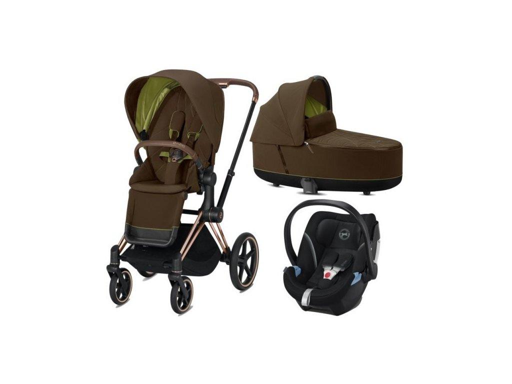 Cybex Priam podvozek, Seat Pack, Lux Carry Cot s autosedačkou 2021 - Khaki Green