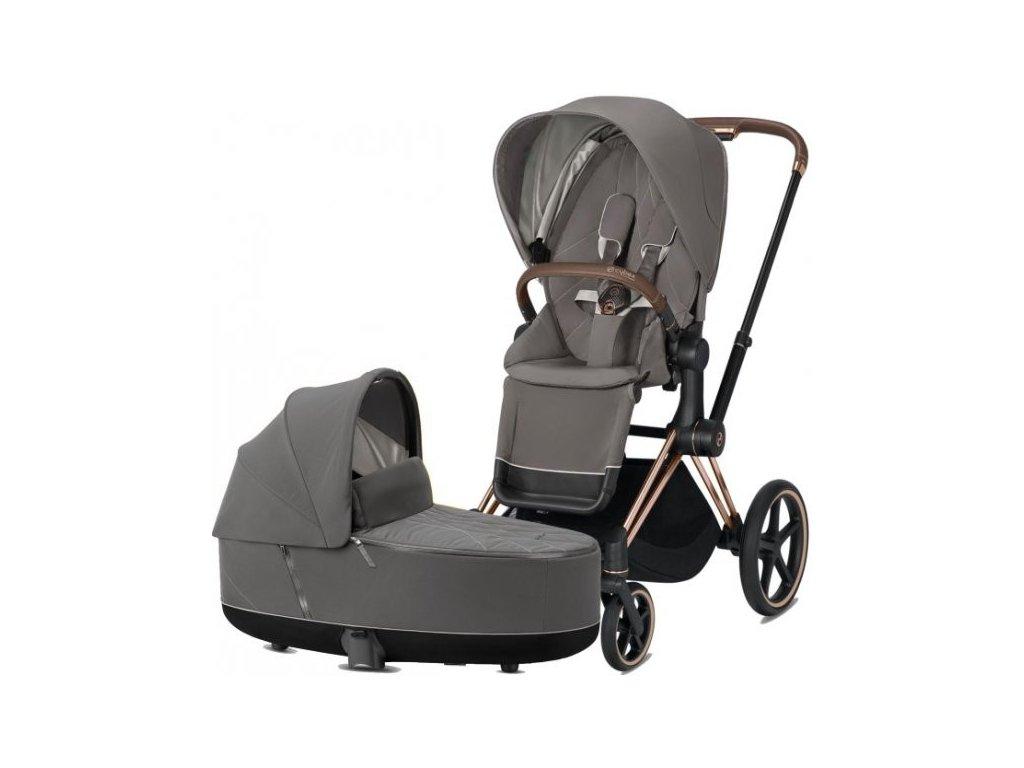 Kočárek CYBEX Priam Rosegold Seat Pack 2021 včetně korby - Soho Grey