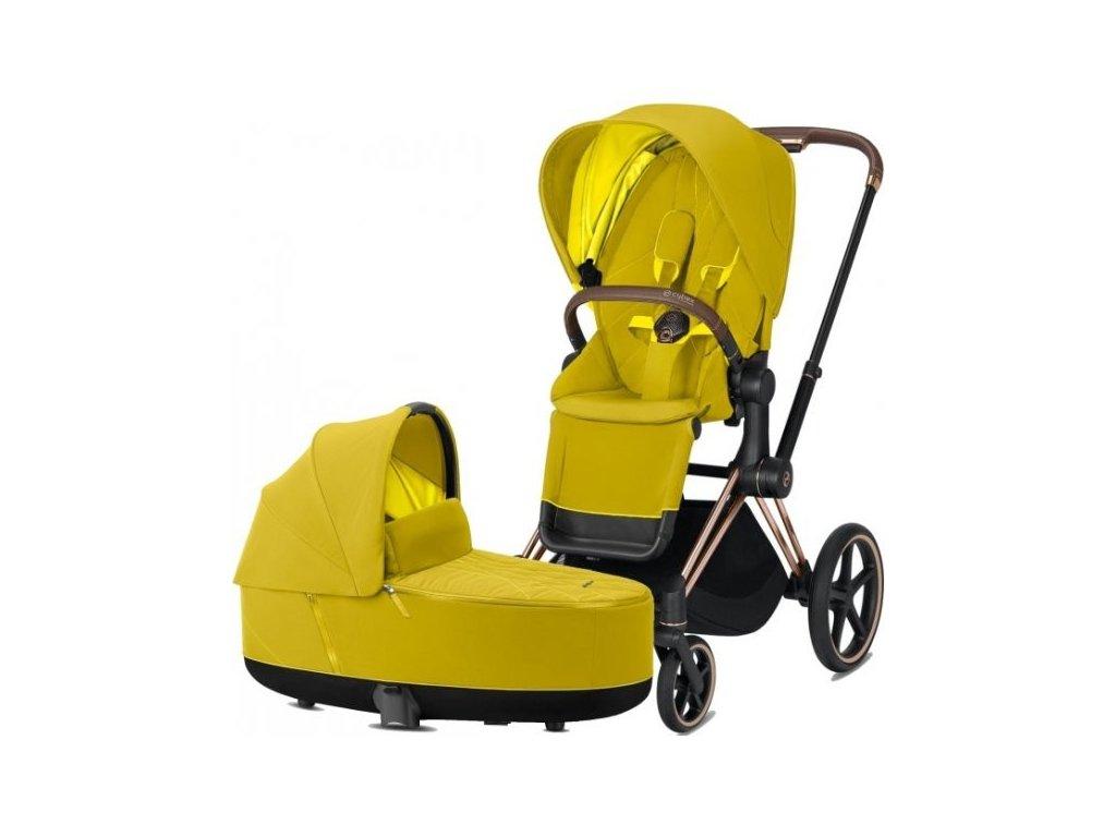 Kočárek CYBEX Priam Rosegold Seat Pack 2021 včetně korby - Mustard Yellow
