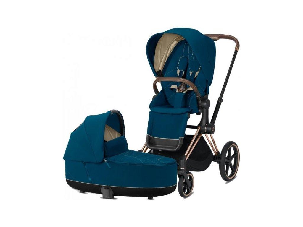 Kočárek CYBEX Priam Rosegold Seat Pack 2021 včetně korby - Mountain Blue
