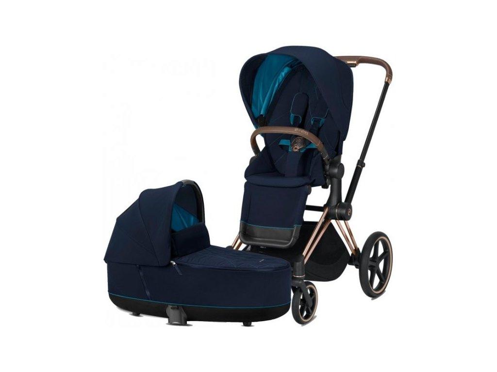 Kočárek CYBEX Priam Rosegold Seat Pack 2021 včetně korby - Nautical Blue