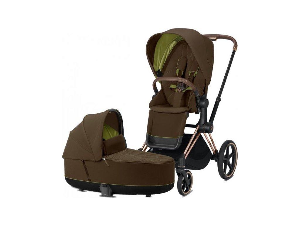 Kočárek CYBEX Priam Rosegold Seat Pack 2021 včetně korby - Khaki Green