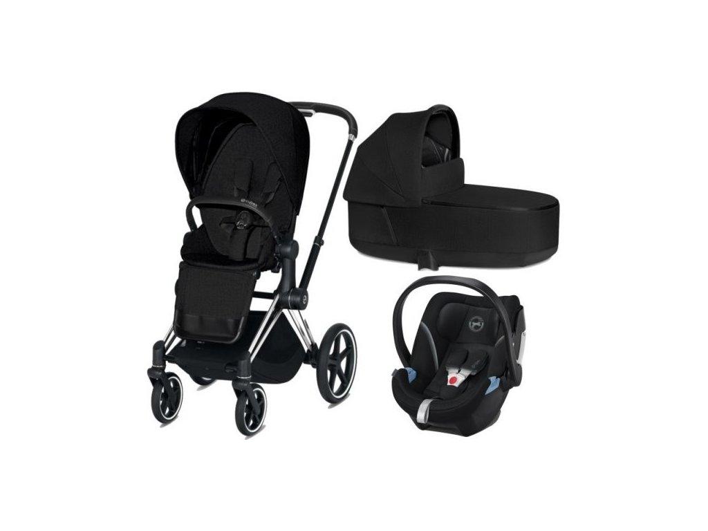 Cybex Priam podvozek, Seat Pack, Lux Carry Cot PLUS s autosedačkou 2021 - Stardust Black