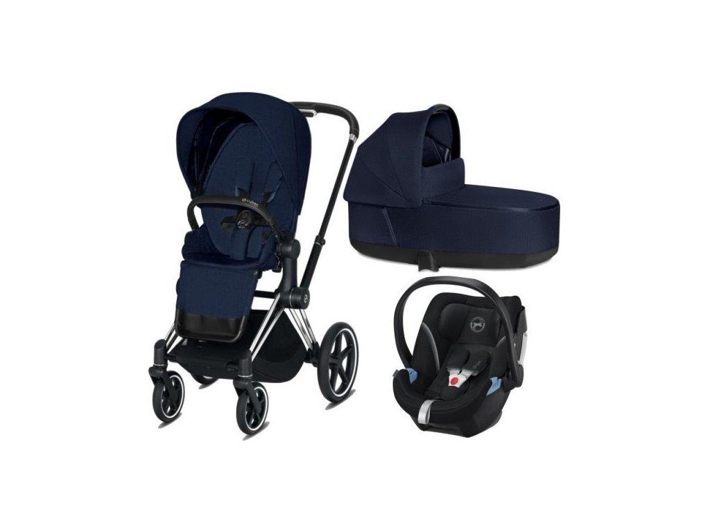 Cybex Priam podvozek, Seat Pack, Lux Carry Cot PLUS s autosedačkou 2021 - Midnight Blue