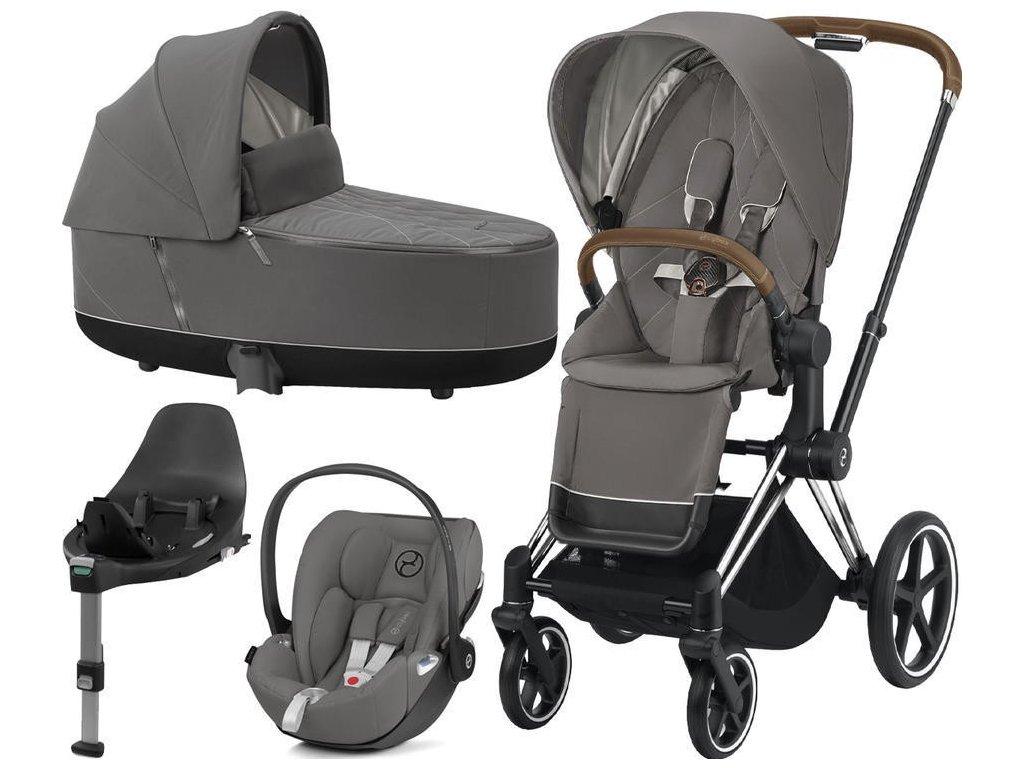 Kočárek CYBEX Set Priam Chrome Brown Seat Pack 2021, Lux Carry Cot  včetně Cloud Z i-Size a base Z - Soho Grey